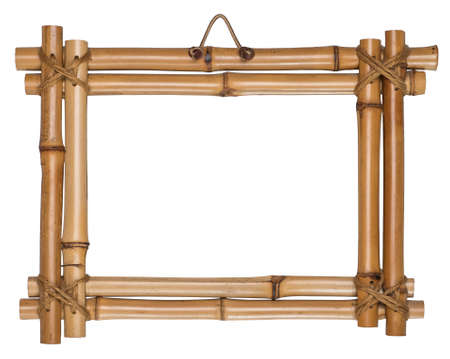 australian ethnicity: Bamboo frame tied up with rope. It is empty and isolated on the white background Stock Photo