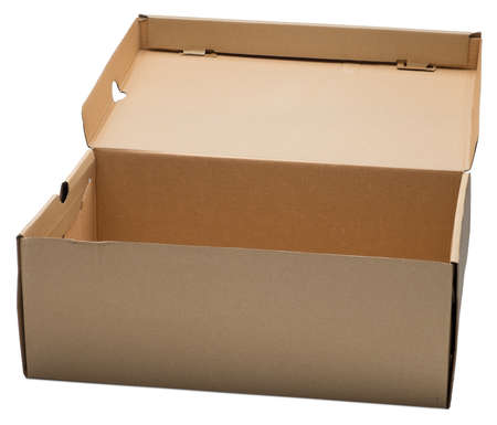 moving crate: Open cardboard box. Isolated on the white background, with shadow. Stock Photo