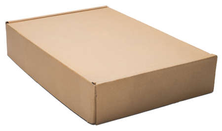 moving crate: Flat cardboard box. Isolated on the white backgroung, with shadow. Stock Photo
