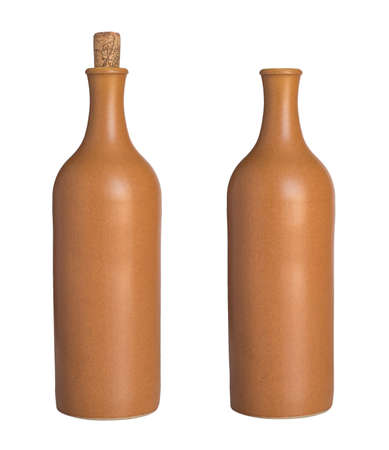 ceramic bottle: Ceramic bottle with a cork and without. Isolated on the white background. no shadow.