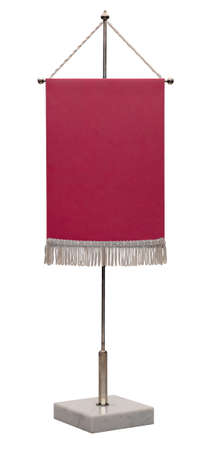 spire: Empty red pennant. Pennant on steel spire on a marble pedestal isolated on white background, no shadow. Stock Photo