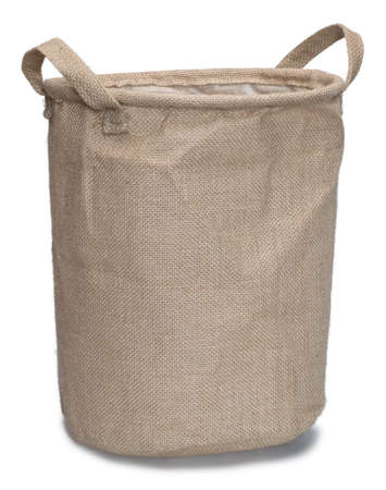 burlap bag: Burlap bag with handles isolated on the white background with shadow. Stock Photo