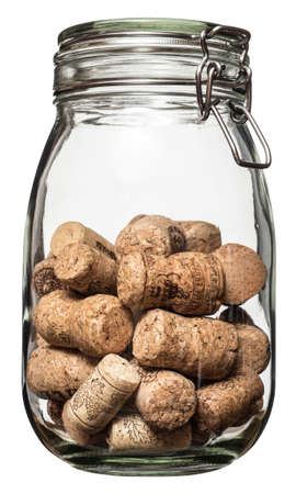 Wine corks canned in glass jar, isolated on the white bacground, no shadow.