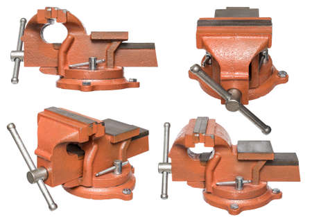 vise grip: Orange hand vise tool, different views, isolated on white background. Stock Photo
