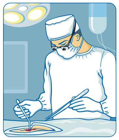 chirurgo: Illustrazione vettoriale di chirurgo in sala operatoria Vettoriali