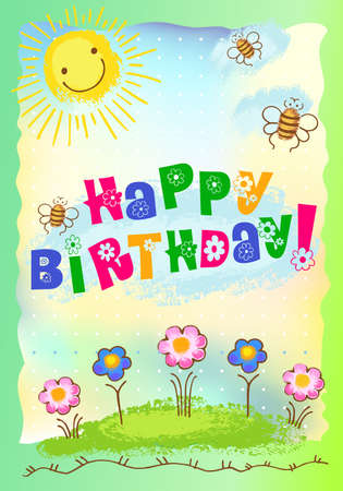 Postcard with sun, bees and flowers wishing happy birthday Vector