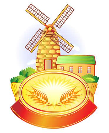 logo de comida: Ilustración vectorial con la bandera, molino de viento y el trigo