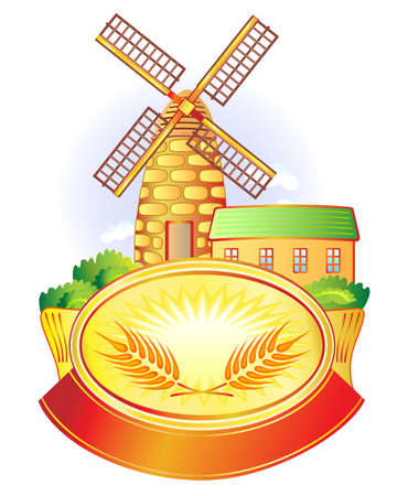 flour mill: Vector illustration with banner, windmill and wheat