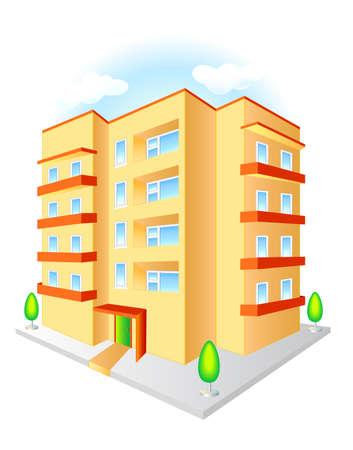 Nuevo edificio de varios pisos con balcones rojos sobre un fondo azul cielo aislado sobre fondo blanco.