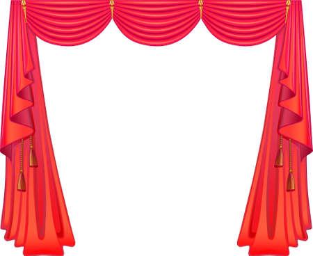 cortinas rojas: Cortinas escarlatas Vectores