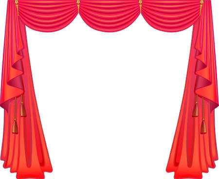 Scarlet curtains Stock Vector - 10824121