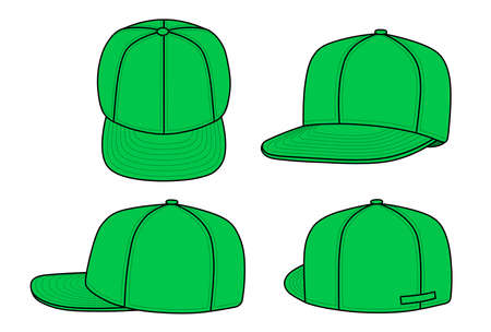 back view: Outline rap cap vector illustration isolated on white