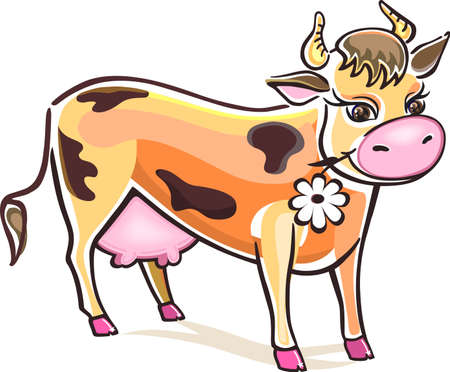 żartować: Krowa uÅ›miechniÄ™ta na biaÅ'ym tle