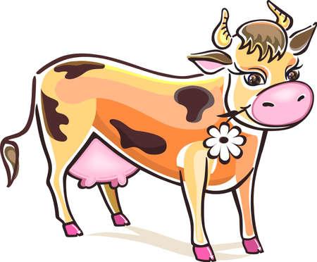 vaca caricatura: Vaca sonriente aislados sobre fondo blanco