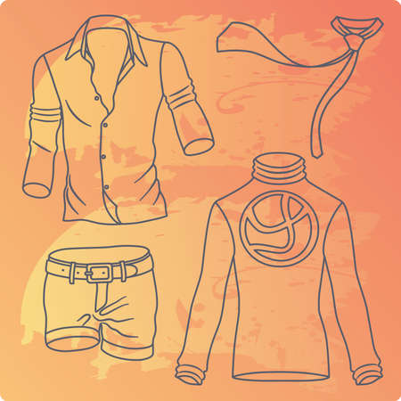 Man clothes collection isolated on grunge background Vector