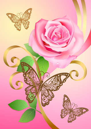 Valentine postcard with rose, butterflies and ribbons Vector