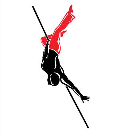 hang body: Vector illustration of the acrobat on white background