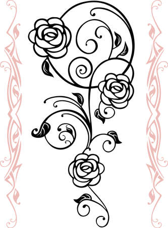rose tattoo: Abstract floral silhouette, element for design