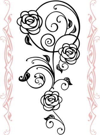 tatouage fleur: R�sum� silhouette floral, �l�ment pour la conception
