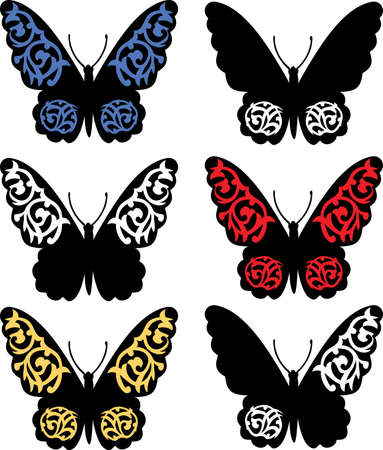 Pattern with butterflies, suitable for a tattoo  Vector