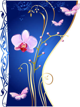 pink orchid: Orchids and butterflies on blue background  Illustration