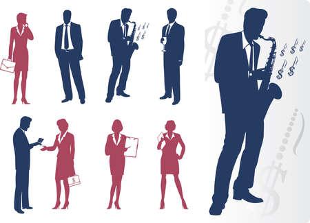 Businessmen and businesswomen silhouettes  Vector