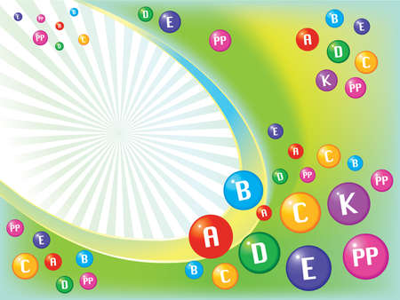 flu prevention: Vector conceptual vivid background from different color vitamin