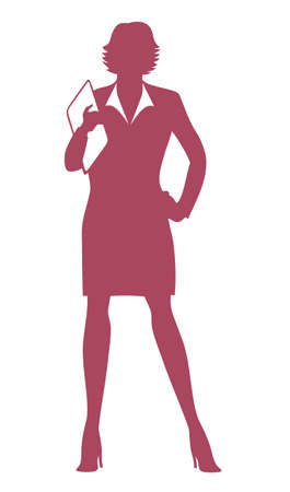 expert: Business woman holding a documents  Illustration