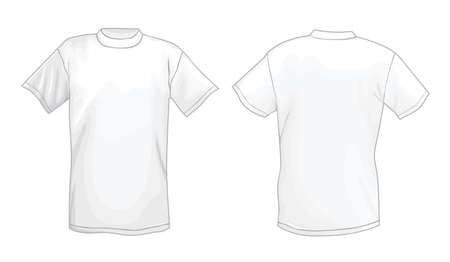short back: White vector T-shirt design template (front & back)