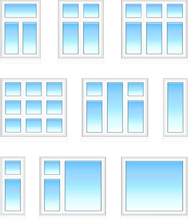 Kunststof ramen in kleur Stock Illustratie
