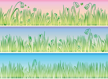 Collection of borders with grass and flowers Stock Vector - 11358031