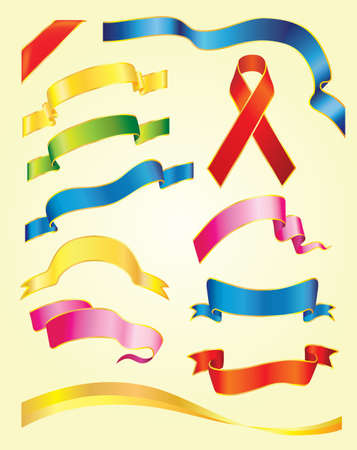adorn: Set of vector multicolored ribbons on light-yellow background  Illustration