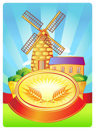 flour mill: Label with windmill and wheat  Illustration