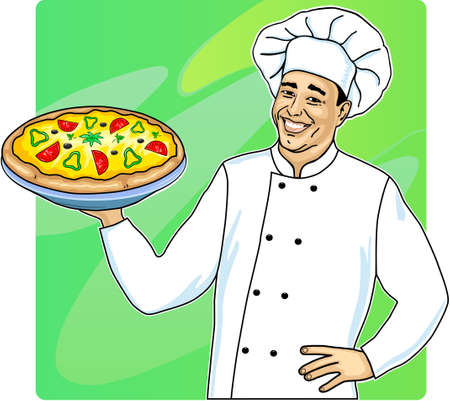 Cook with pizza  Vector