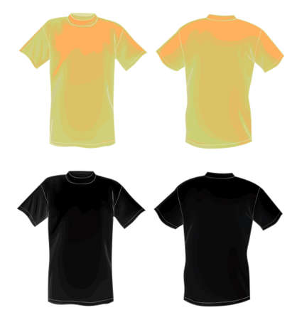back view man: Yellow and black vector T-shirt design template (front & back)