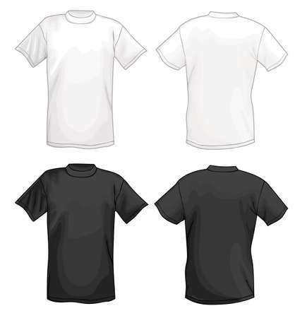 White vector T-shirt design template (front & back) isolated on black background  Illustration