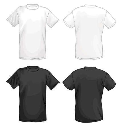 Wit, vector T-shirt design template (voor & achter) geïsoleerd op zwarte achtergrond