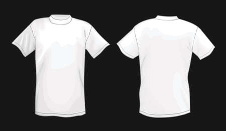 short back: White vector T-shirt design template (front & back) isolated on black background  Illustration