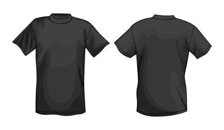 back view man: Black vector T-shirt design template (front & back)