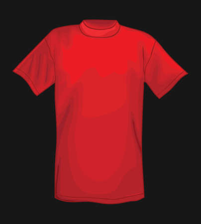 Red vector T-shirt design template isolated on black background  Vector