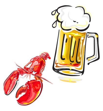 Crawfish en bier Stock Illustratie