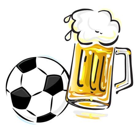 Voetbal en bier Stock Illustratie