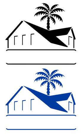 Bungalow teken Stock Illustratie