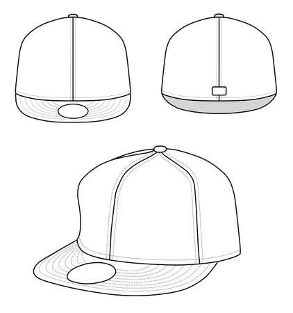 head wear: Rap tappo contorno Vettoriali
