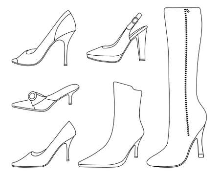 high heel shoe: Outlined women shoes