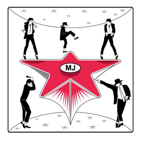Silhouetten van de danser op de ster het podium Stock Illustratie