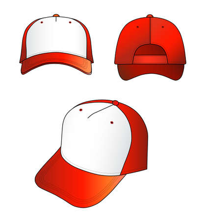 hat with visor: Red-white cap