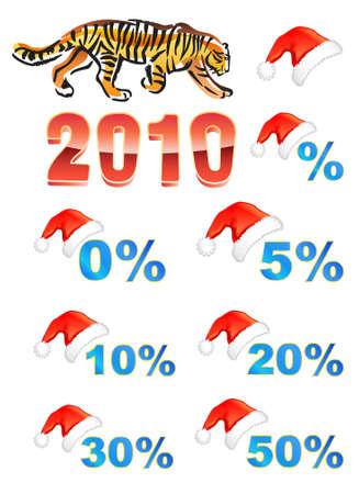 Christmas hat, discounts, tiger  Vector