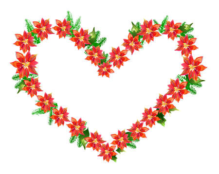Poinsettia Heart  Vector