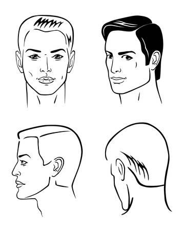 man face profile: Cuatro esquema el hombre se enfrenta aislado en blanco